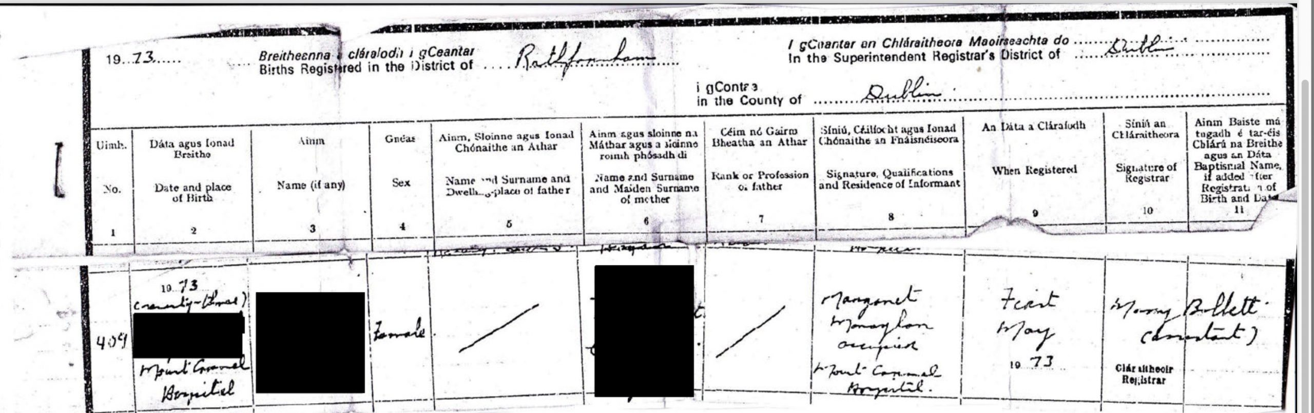 Sample of an adopted person's birth certificate